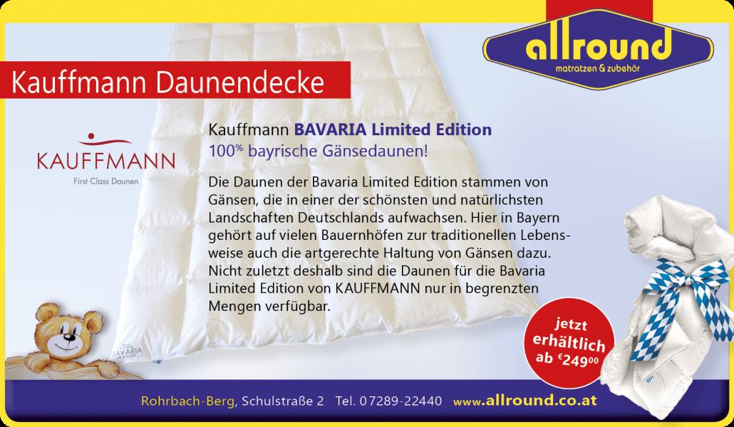 Kauffmann Daunendecken bayrische Gänsedauenen Allround Matratzen und Zubehör Rohrbach-Berg