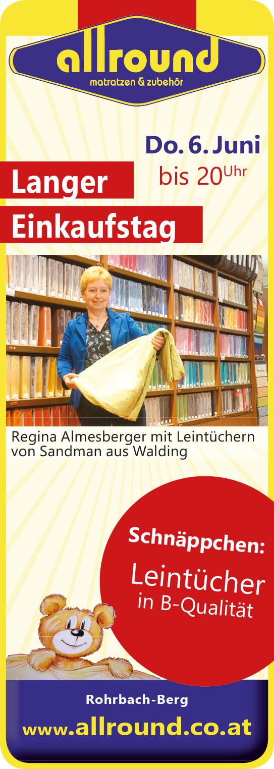 Langer Einkaufstag Allround Rohrbach-Berg 6.Juni Aktion Spannleintücher