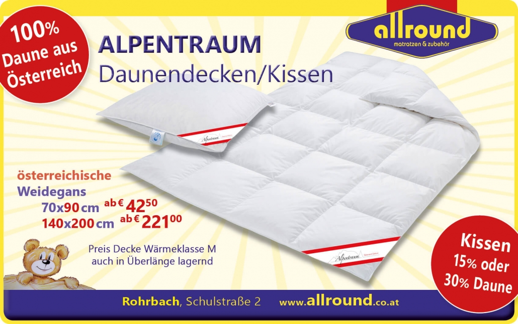 Schaefer Alpentraum Weidegans Decke Daunen aus Österreich Allround Matratzen Rohrbach-Berg